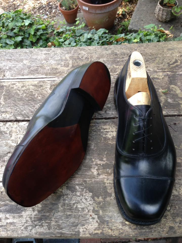 Black calf leather oxford with london fiddle waist sole